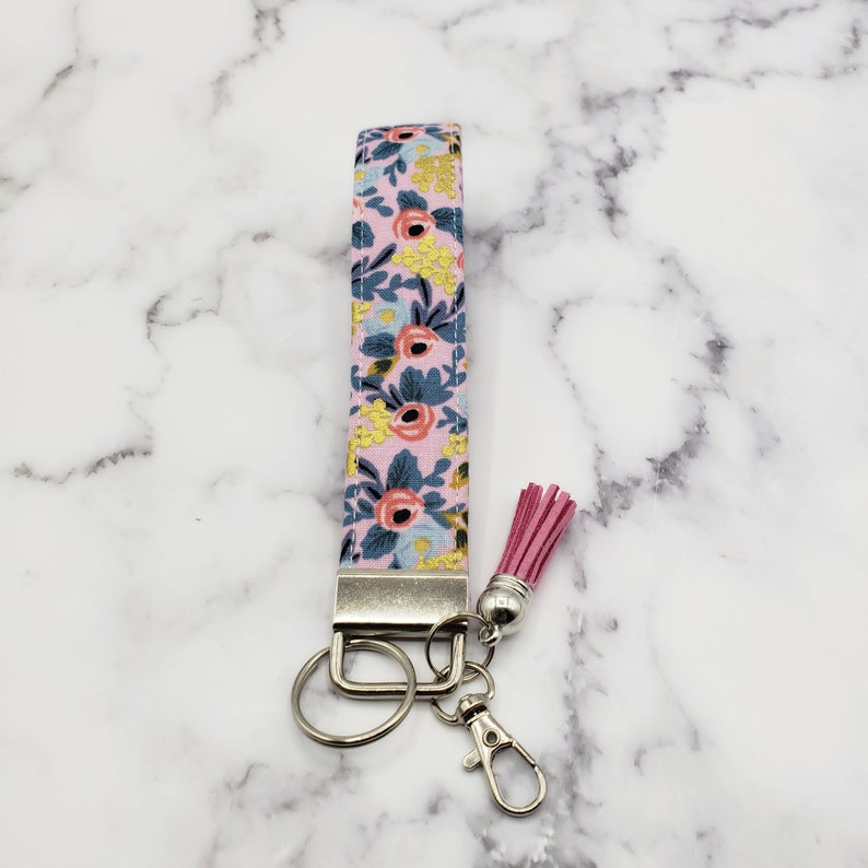 Rifle Paper Co Fabric Key Wristlet Keychain Wrist Keychain Gift for Her Keychain Fob Floral Key Fob Key Fob Fabric keychain