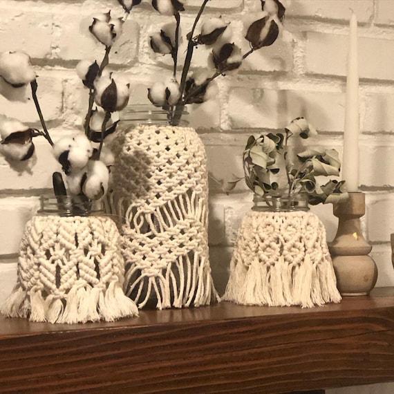storage gift Ideas. bohemian decor Macrame centerpiece holiday decor home decor white bowl ethical materials handmade