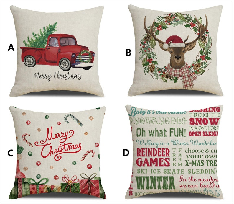 """Throw PILLOW COVER Christmas Decorative Xmas Double-Sided Cushion Case 18x18/"""""""