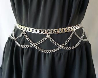 Silver Metal Chain Belt Curb Link Chain Belt