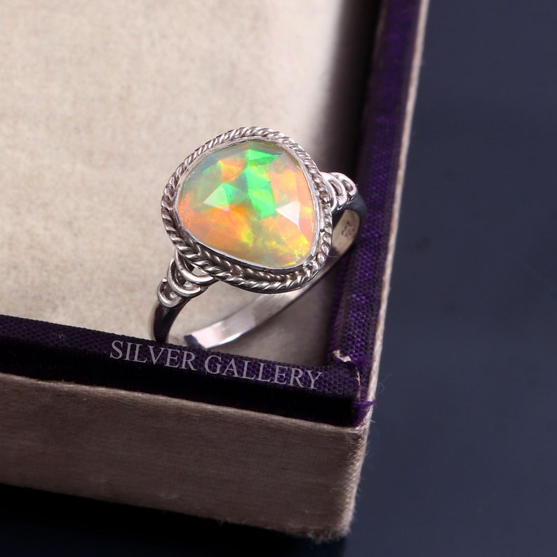 Natural Ethiopian Opal Solid 925 Sterling Silver Ring 7 Gemstone Silver Handmade Ring Size