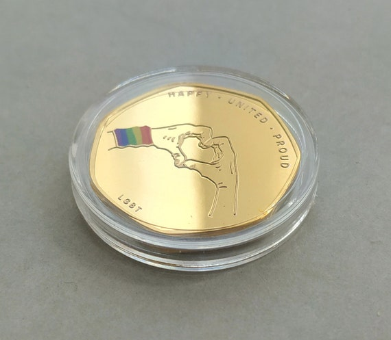 LGBT//Gay Pride Gold Plated Commemorative Coin 50p Shape Capsuled