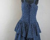 Beautiful women 39 s vintage navy sundress decorated with white flowers and corset details.