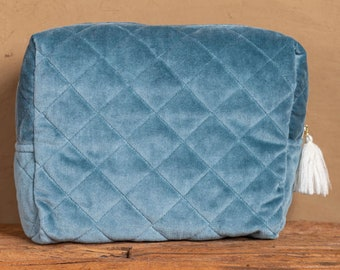 Luxury Cotton Velvet Quilted Clutch for Travel, Smartphone, Cosmetics, Makeup Bag/Pouch (Handmade)   In 3 Colours