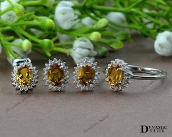 ring earring sterling silver jewelry set 9.58 Gm Citrine gemstone jewelry set Pear Shape Yellow Citrine jewelry set handmade pendant