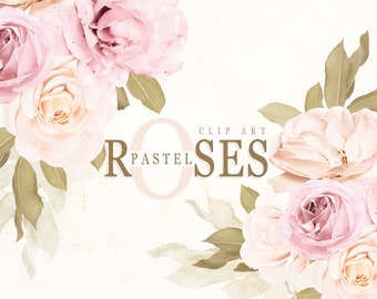 Pastel Roses Clip Art, Pink Roses Bouquet Clipart, Real Flower Clip Art, Floral Clipart, Floral Arrangement, Flowers DIY Invites, Roses PNG