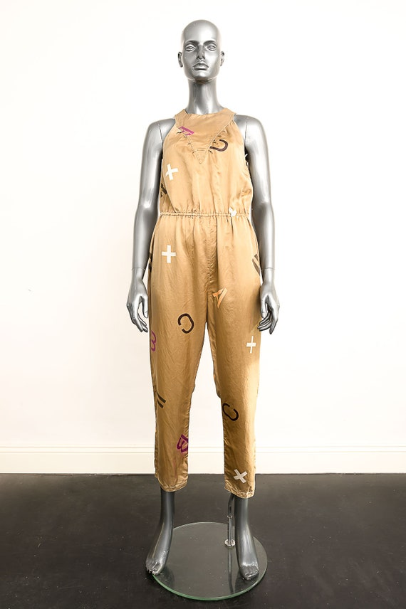 1980's Gold Silk Jumpsuit with Numbers and Symbols