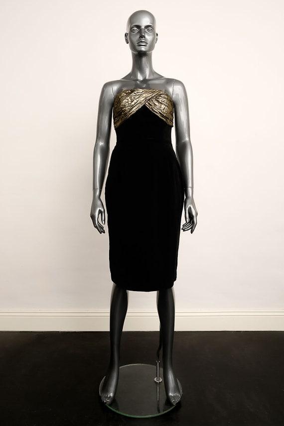 Radley cocktail dress in Black Velvet and Bronze L