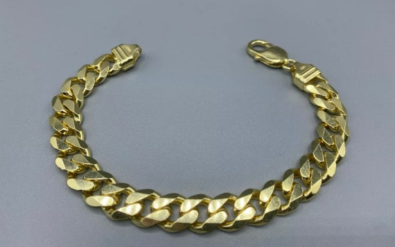 length 8 Beautiful Decorative Vintage Solid Sterling Silver Gilt Gold on Sterling Silver Curb Chain Bracelet