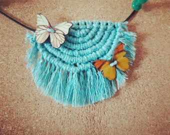 Butterfly semicircle macrame necklace