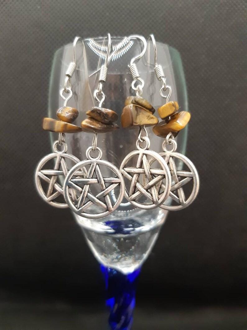 Pentagram Tigers Eye Earrings