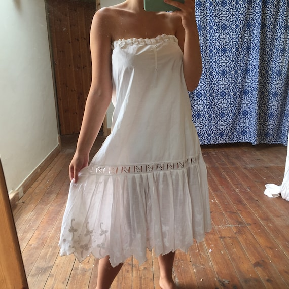 1920's Drop Waist Petticoat Hand Embroidered
