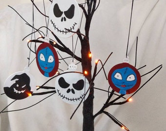 Baubles flat wooden In the style of Halloween and Christmas Jack ,oogie and Sally