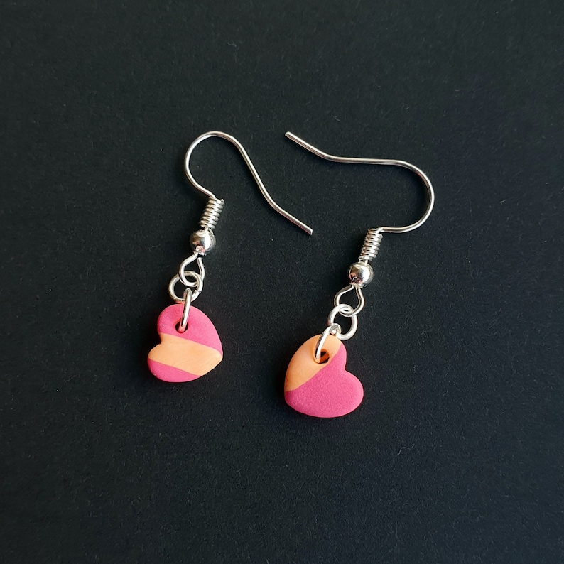 by U O Clay Hun Tiny Heart Earrings Polymer Clay, Sterling Silver, Handmade Pink and Peach