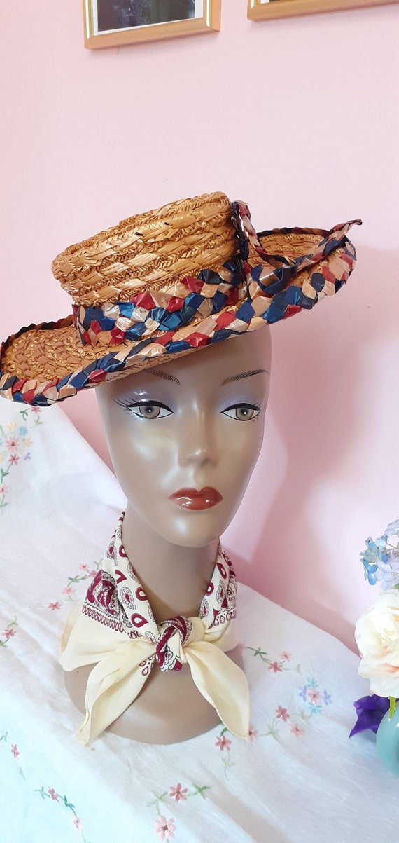 1940's Straw Tilt Hat - image 1