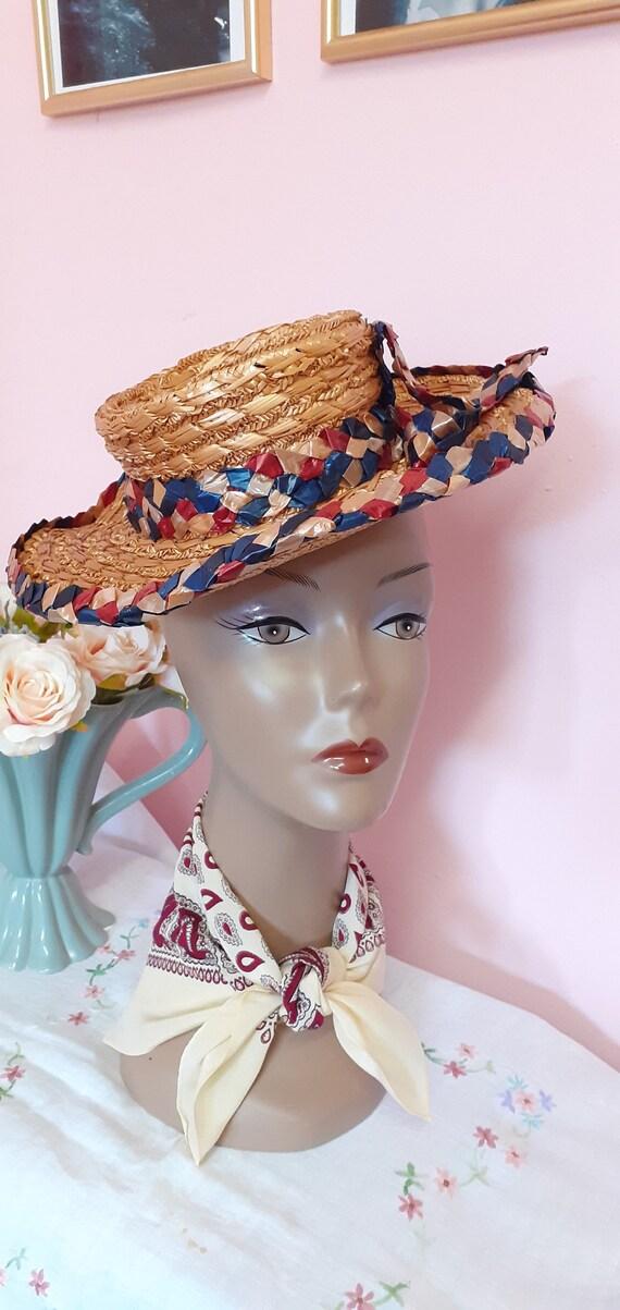 1940's Straw Tilt Hat - image 4
