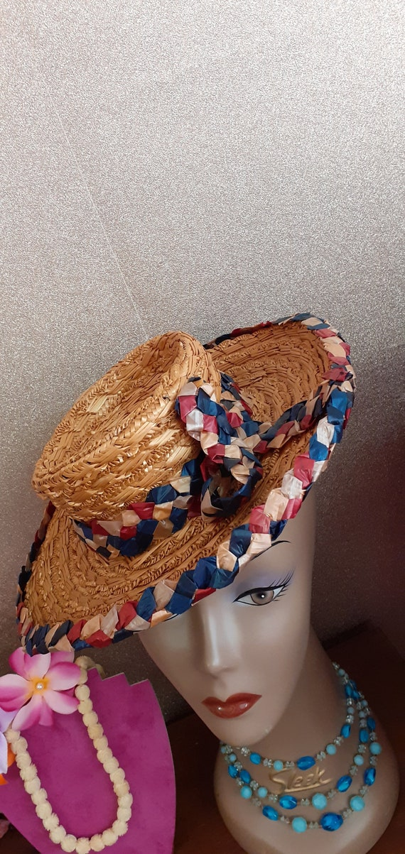 1940's Straw Tilt Hat - image 6