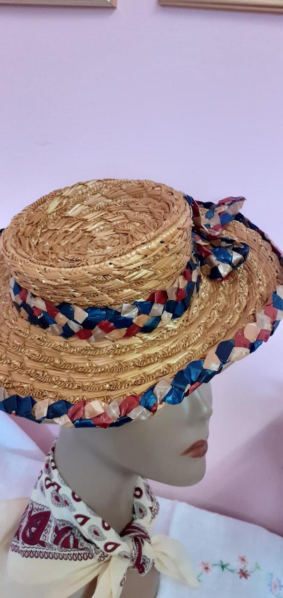1940's Straw Tilt Hat - image 5