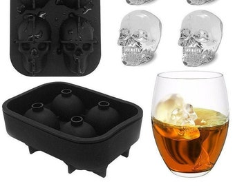 Chocolate Whiskey Ice 3D Skull Ice Cube Mold Silicone Tray Ice Cube Maker Leak Free 3 PACK, Black Makes Skulls Soap and Bath Bomb Molds