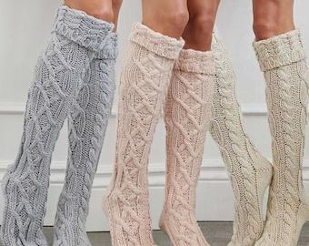 Knee high socks cable knit Cotton Acrylic blend