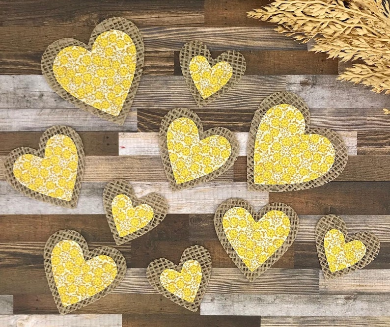 Rustic Gifts for Mom Floral Scrapbook Stickers Burlap Gifts Journal Card Embellishemnts Burlap Heart Stickers Yellow Flower Sticker