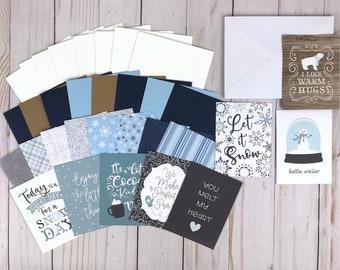 Winter Card Kit, DIY Winter Kit, Card Making Kit for Adults, Holiday Card Set, Tween Craft Kit, DIY Craft Kits for Teens, Winter Card Set