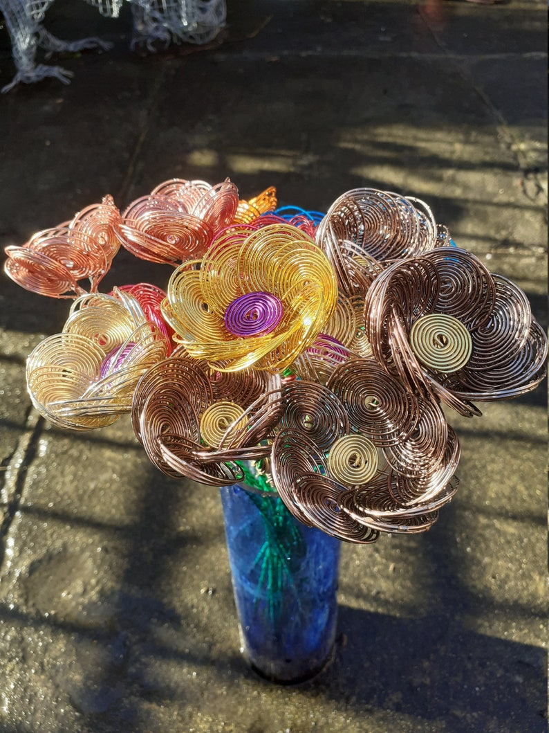 Bouquet of Sixteen Various Coloured Wire Flowers