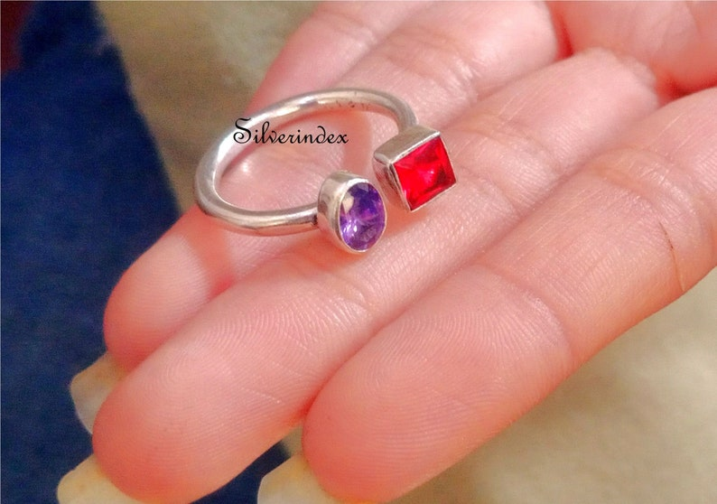 Women Ring Adjustable Ring 925 Silver Ring Engagement Ring Valentine Gift Amethyst Ring Handmade Ring Promise Ring Garnet Ring
