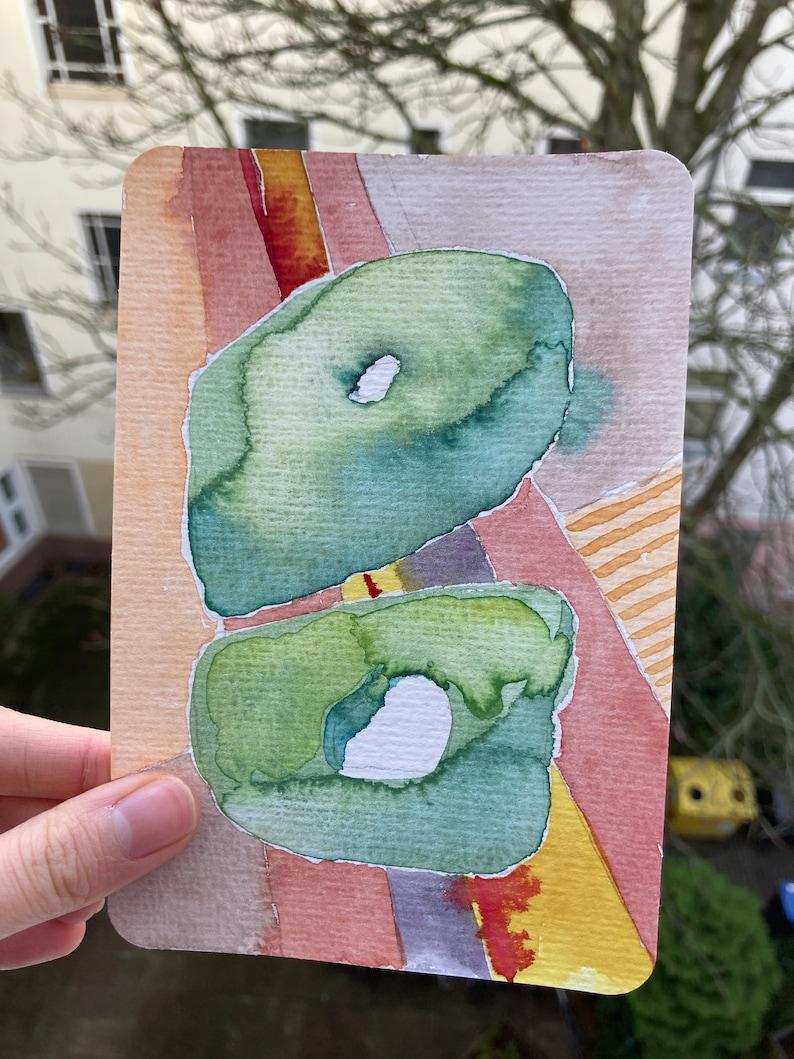mini abstract original art hand painted postcard watercolor postcard