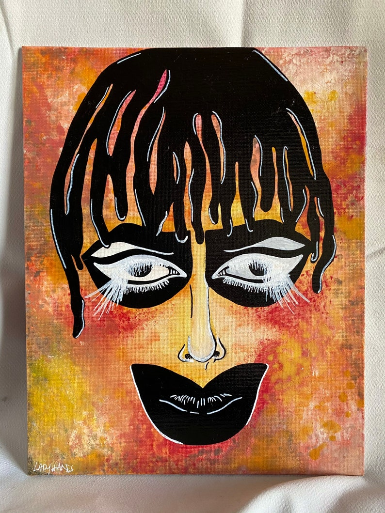 Leigh Bowery ORIGINAL BRILLIANCE Acrylic and Watercolor on Canvas Board 8x10