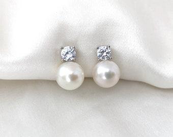 Freshwater pearl clip on earrings, CZ clip on earrings, Invisible clip on earrings, Bridal clip on earrings, Wedding earrings, Bridal Studs