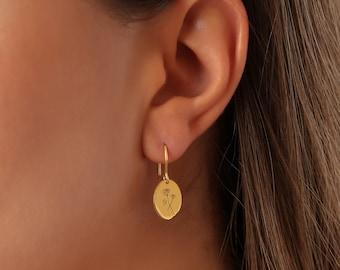 Birth Flower Earrings - Floral Signet Earrings - Birth Month Flowers Earrings - Dainty Flower Jewelry - Floral Signet Earrings- Gift For Mom