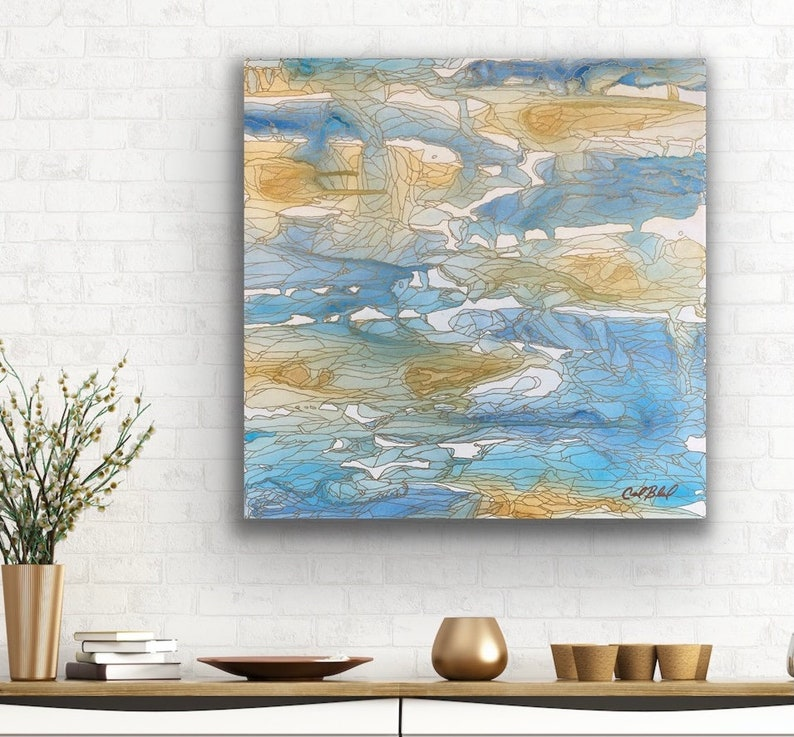 Gentle Walk Along the Shore: Original Abstract Painting image 0