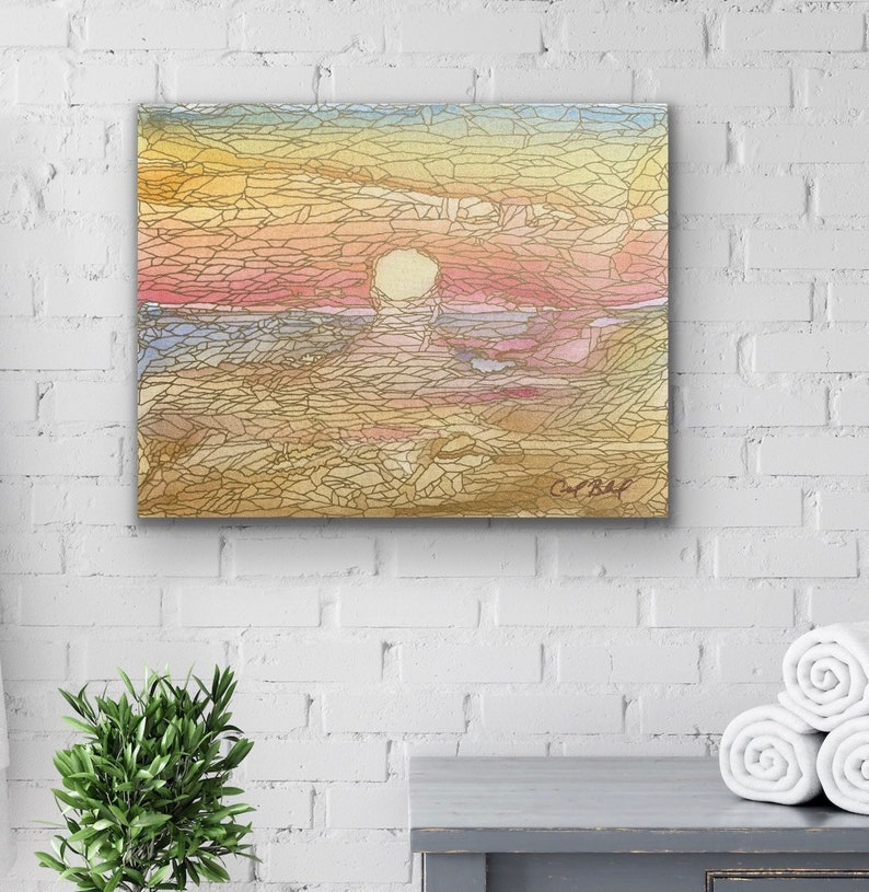The Day Melts into the Sea: Original Abstract Painting image 0