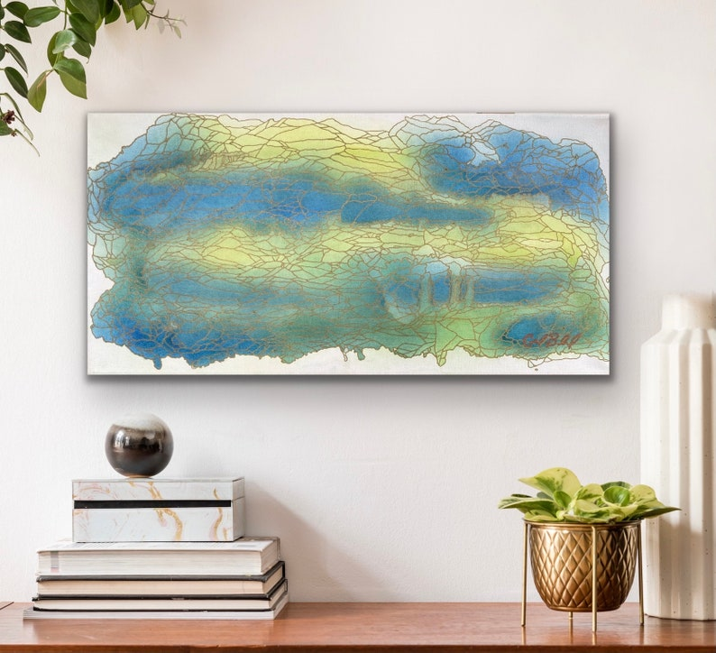 Through Shallow Waters: Original Abstract Painting image 0