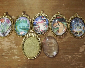 Custom Hand Drawn Pendants with Antiqued Gold Texture