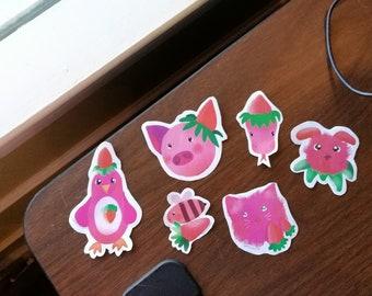 Strawberry Animals Sticker Pack(6 pieces)