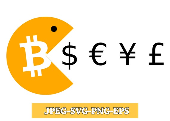 Bitcoin is eating the World svg pacman, bitcoin dxf, crypto svg, jpg, png, ai cutting files, clip art, printable, Silhouette Cameo