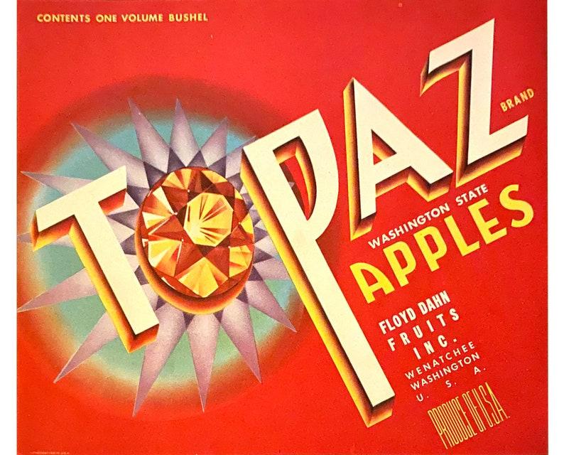 Original Topaz Brand Apples Crate Label