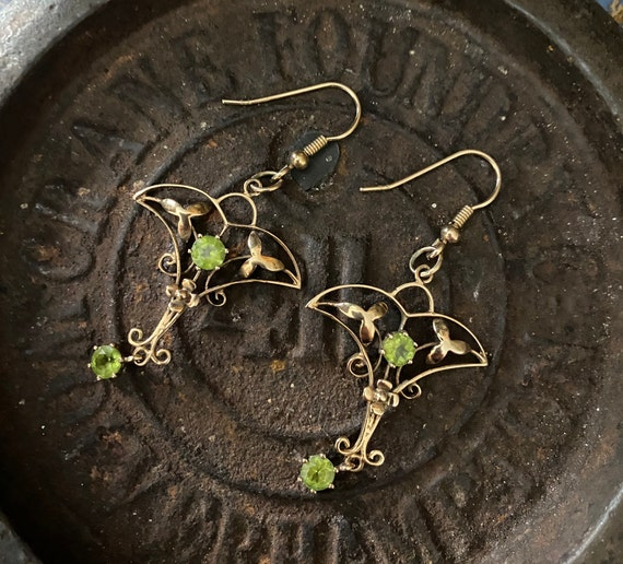Antique Art Nouveau 9ct gold and peridot earrings