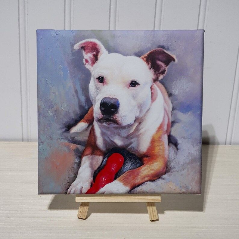 Gallery Wrap Custom Pet Portrait Pet Memorial 6x6 Finest Oil Painting Dog Portrait Cat Portrait