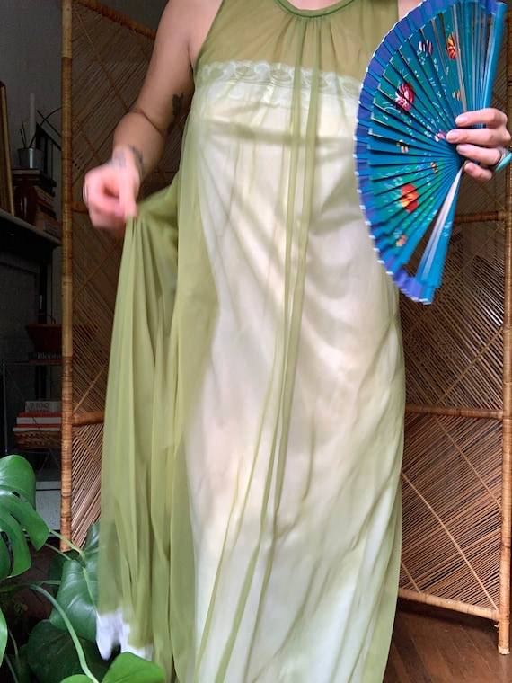 Green Chartreuse Vintage Peignoir Gown