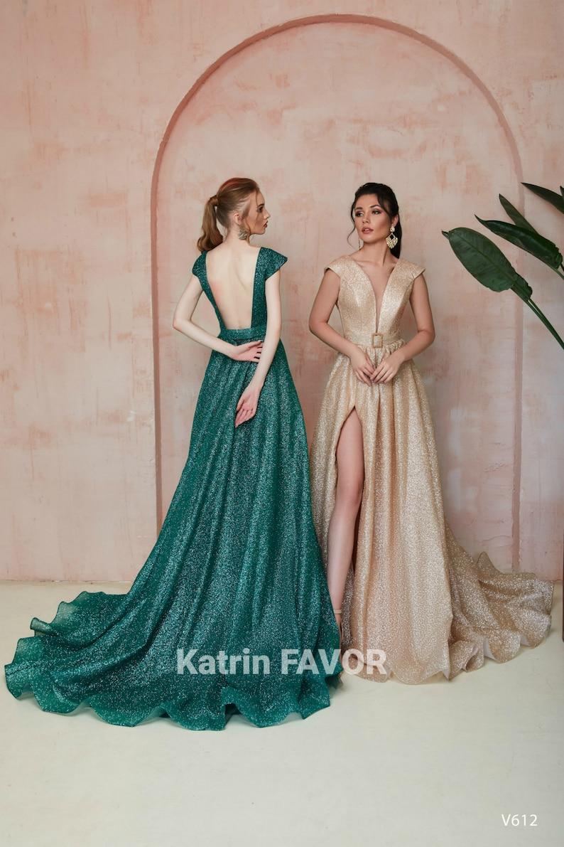 Backless Forest Green Wedding Dress Gold Wedding Dress Slit image 0