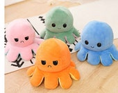 Plush Toy Octopus Reversible Cute Flip Soft Toy Gift Happy Sad Pink Blue Mood Teddy