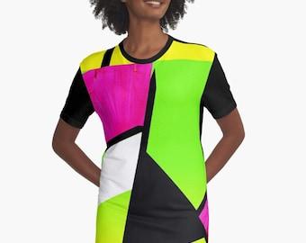 Neon Color Blocking Graphic T-Shirt Dress