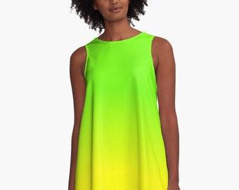 Neon Lime Green & Yellow  A-Line Dress