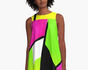 Neon Color Blocking A-Line Dress / Trapeze Dress / Up To 4 XL