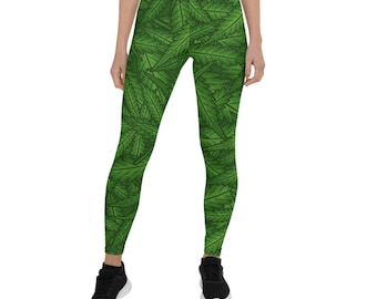 VAICR Leggings Sport Pantalons,Personalized Marijuana Weed Cannabis Leaf Galaxy Womens Printed Leggings Pants for Sports Yoga Workout Gym Running