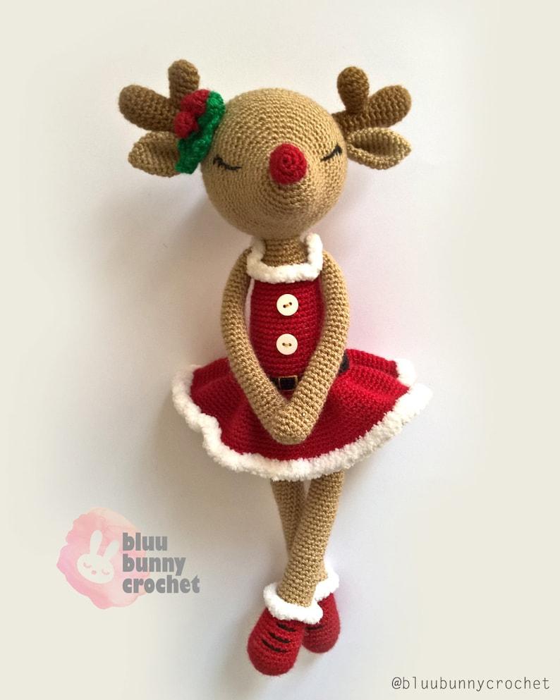 Amigurumi Reindeer Pattern Ballerina Crochet Deer Doll Pattern Christmas Crochet Fawn Decoration Idea for Living Room