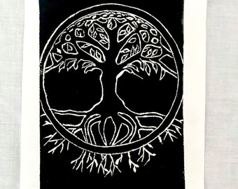 Tree of Life limited edition linocut print with shiny silver foil Yggdrasil